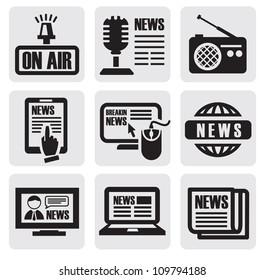 vector black newspaper media icons on gray