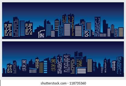 vector black night city icons set on blue