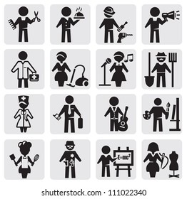 vector black occupations icons set on gray