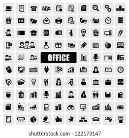 vector black office icons set on gray