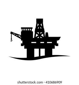 Vector black oil platform icon on white background.  Oil offshore platform