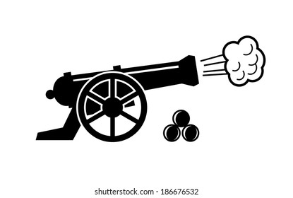 vector black old cannon icon on white