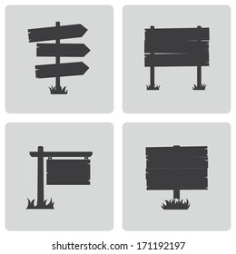 Vector black old wood sign set on white background