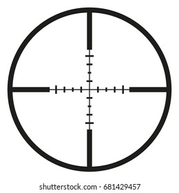 Vector Black Optical Sight Aim Icon on White Background