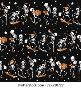 Vector black, orange dancing and skateboarding skeletons Haloween repeat pattern background. Great for spooky fun party themed fabric, gifts, giftwrap.
