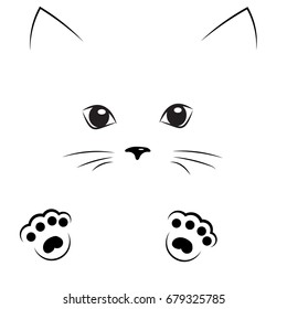 vector black outline drawing cute cat face with paws