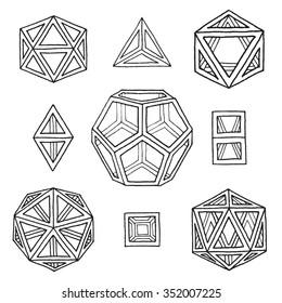 vector black outline hand drawn monochrome Platonic solids tetrahedron, cube, hexahedron, octahedron, dodecahedron, icosahedron isolated illustrations set on white background