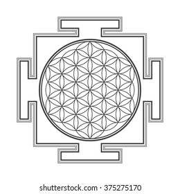 vector black outline hinduism  flower of life yantra illustration circles diagram isolated on white background