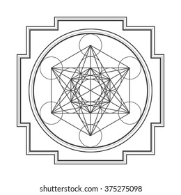 vector black outline hinduism metatron cube yantra illustration diagram isolated on white background