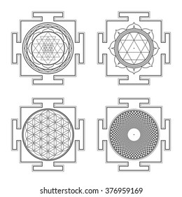 vector black outline hinduism Sri Durga Flower of life Sahasrara yantra illustrations diagram isolated collection white background