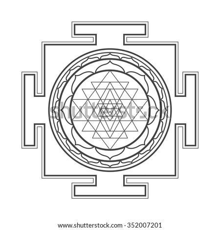 vector black outline hinduism sri 450w 352007201 vector black outline hinduism sri yantra stock vector (royalty free