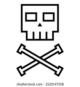 Vector Black Outline Icon - Square Skull and Crossbones on Isolated White Background