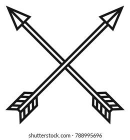 Vector Black Outline Medieval Icon of Crossed Arrows