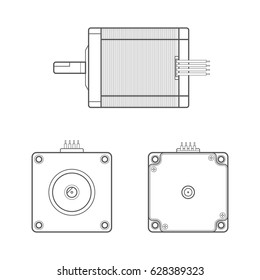 vector black outline monochrome stepper electric motor different angles illustration isolated white background