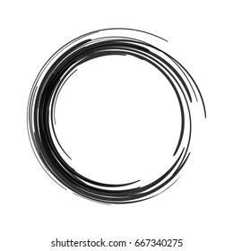 Vector black paint brush circle stroke. Abstract japanese style hand drawn black ink circle.
