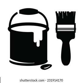 vector black paint and paint brush on white background