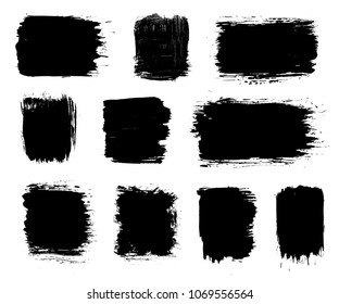 Vector black paint brush stroke, dry grunge brush smear, line or texture. Dirty artistic design splash element, box, frame or background for text.
