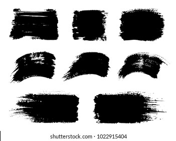 Vector black paint, ink vector brush stroke, brush, frame or texture. Grunge paintbrushes, backgrounds, ink boxes. Banner, shape, logo, icon, label, sticker and badge set. Blank design elements.