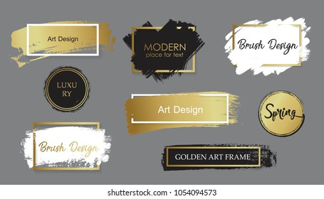 Vector black paint, ink brush stroke, brush, line or texture. Texture artistic design element, box, frame or background for text.