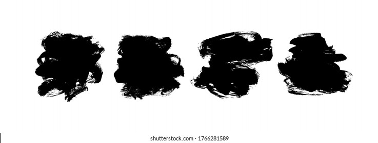 Vector black paint, ink brush strokes and shapes collection. Dirty grunge design element, box or background for text. Grungy black smears and rough stain. Hand drawn ink illustration isolated on white