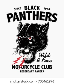 vector black panther head illustration, motorcycle theme graphic for t-shirt and other uses.