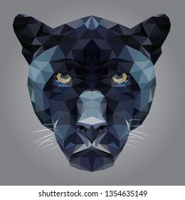 Vector Black panther head low poly.