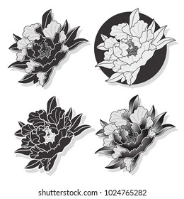 Vector Black Peony Traditional Japanese Tattoo Art Design Set
