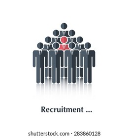 Vector  black people icon,pictogram.Concept recruitment, selection,choice of the person in the crowd,over white with text Recruitment,in flat stile