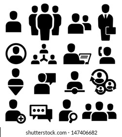 Vector black people icons set