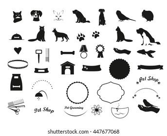 Vector black pet icons. Silhouette pets elements for logo, emblem,label. Set of black pet signs of cat, dog, hamster, fish, parrot, muzzle for your design vector illustration.