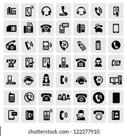 vector black phone icons set on gray