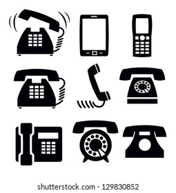 vector black phone icons set on white