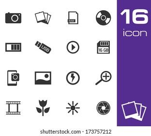 Vector black photo icon set on white background