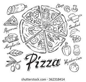 vector black pizza icon on white background