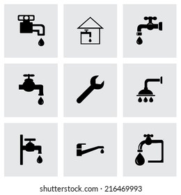 Vector black plumbing icons set on grey background