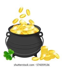Vector black pot of gold coins and shamrock isolated on a white background.