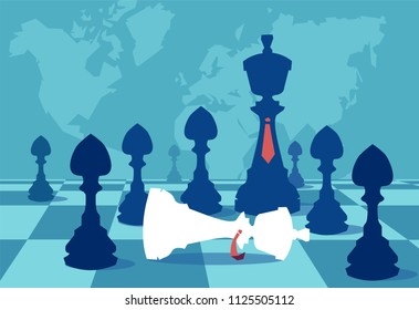 Vector of a black queen with pawn army and defeated white queen, business strategy concept. Victory in battle. Planning and management.