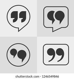 Vector black quote icon set