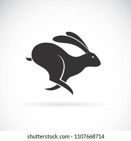 Vector of black rabbit is running on white background. Wild Animals. Black bunny. Easy editable layered vector illustration.