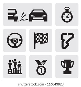 vector black race icons set on gray