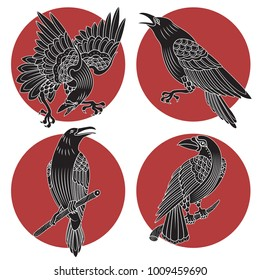 Vector Black Ravens and Crows Traditional Tattoo Design Engraving Style