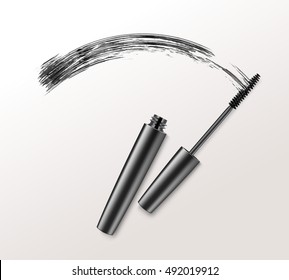 Vector Black Realistic Mascara Brush Strokes Isolated on White Background
