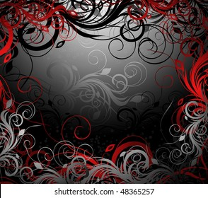 Vector black, red and gold floral background with pattern