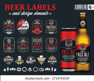 Vector black and red premium quality beer labels. Realistic glass bottle and aluminum can mockup. Brewing company branding and identity icons, badges, insignia and design elements