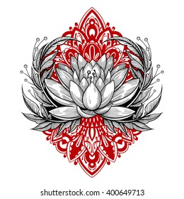 Vector Black and Red Tattoo Lotus Illustration