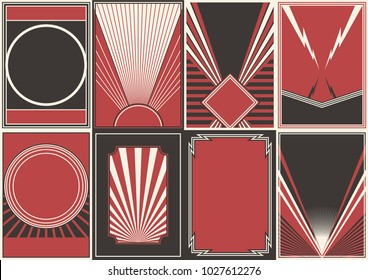 Vector Black Red White Background Set for Propaganda Posters in Retro Style