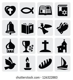vector black religion icon set on gray