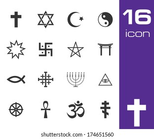 Vector black religious symbols set on white background