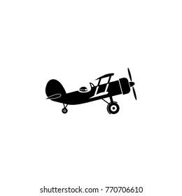 Vector black retro biplane icon. Transport elements. Premium quality graphic design icon. Simple icon for websites, web design, mobile app, info graphics on white background