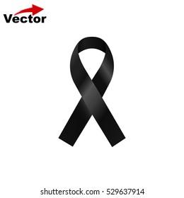 vector black ribbon, mourning sign,